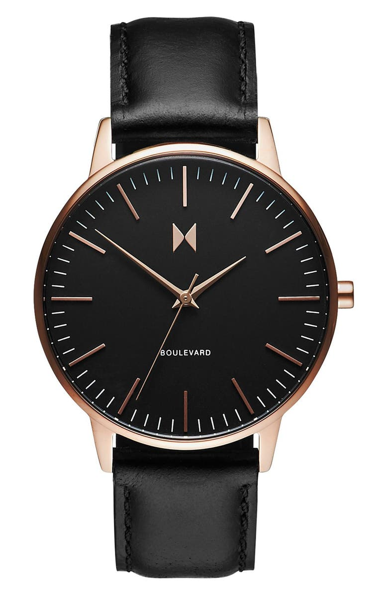 MVMT Boulevard Leather Strap Watch, 38mm, Main, color, 001