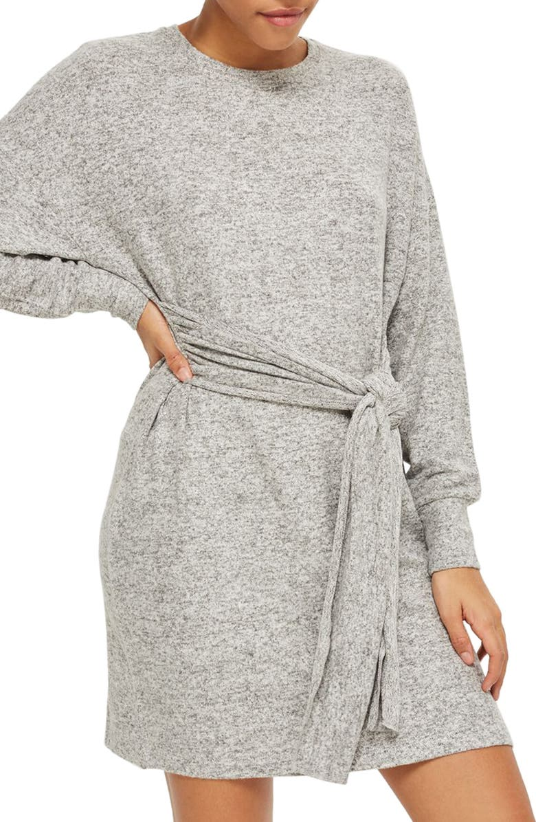 TOPSHOP Tie Front Sweater Dress, Main, color, CHARCOAL