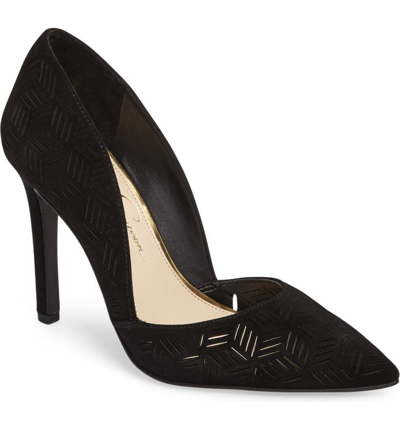 JESSICA SIMPSON Charie Pointy Toe d'Orsay Pump, Main, color, 001