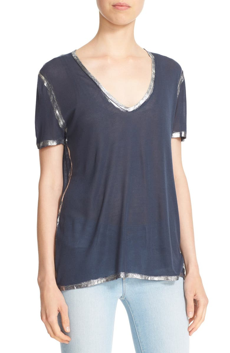 ZADIG & VOLTAIRE 'Tino' Foil Accent Tee, Main, color, MARINE