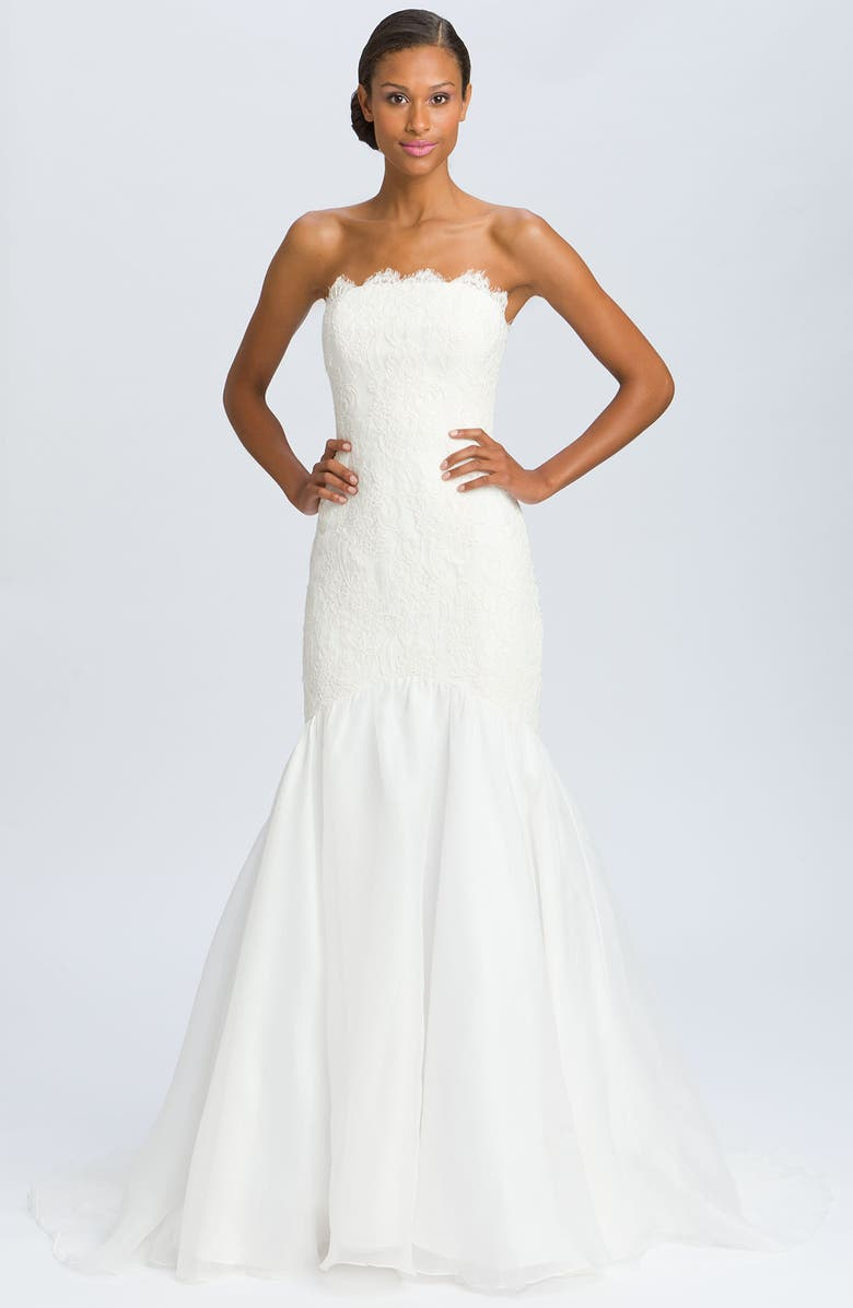 THEIA Lace Overlay Strapless Mermaid Gown, Main, color, OFF WHITE