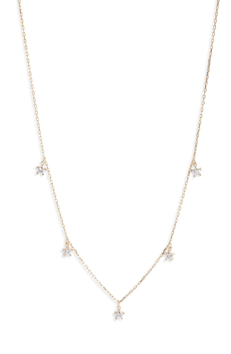 ARGENTO VIVO STERLING SILVER Cubic Zirconia Star Charm Necklace, Main, color, GOLD