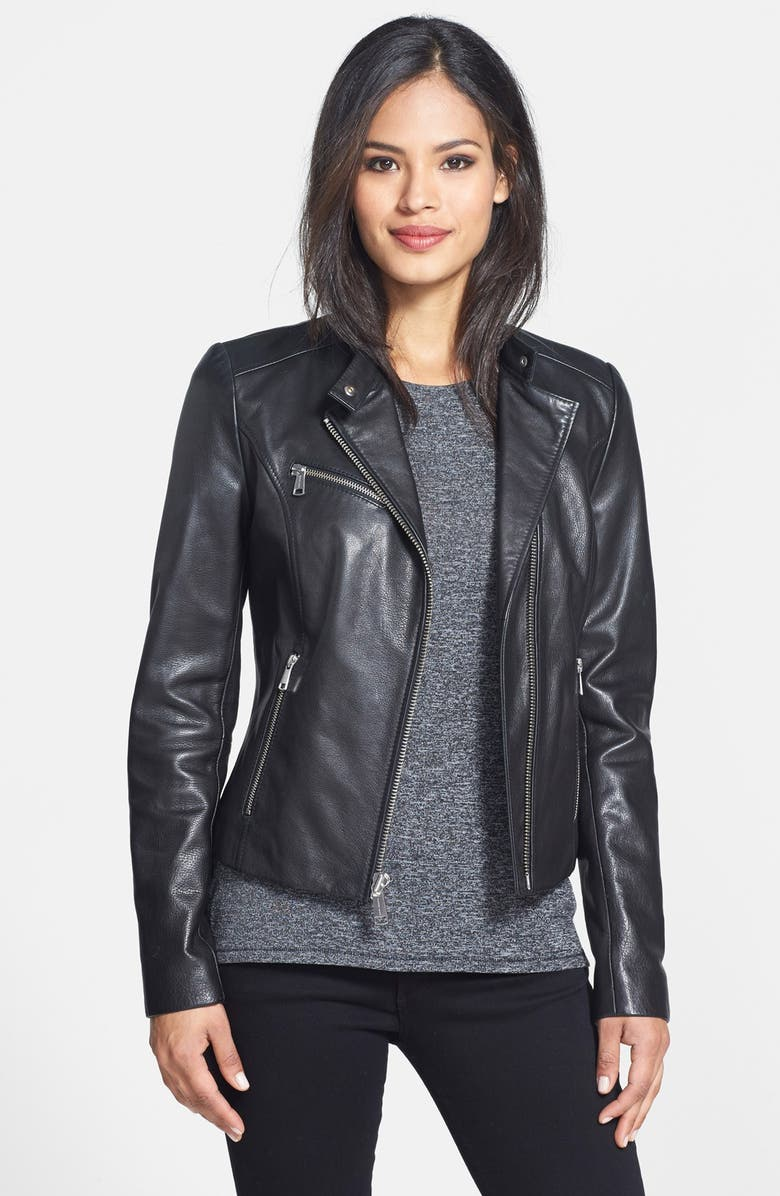 ANDREW MARC 'Caitlyn' Leather Moto Jacket, Main, color, Black