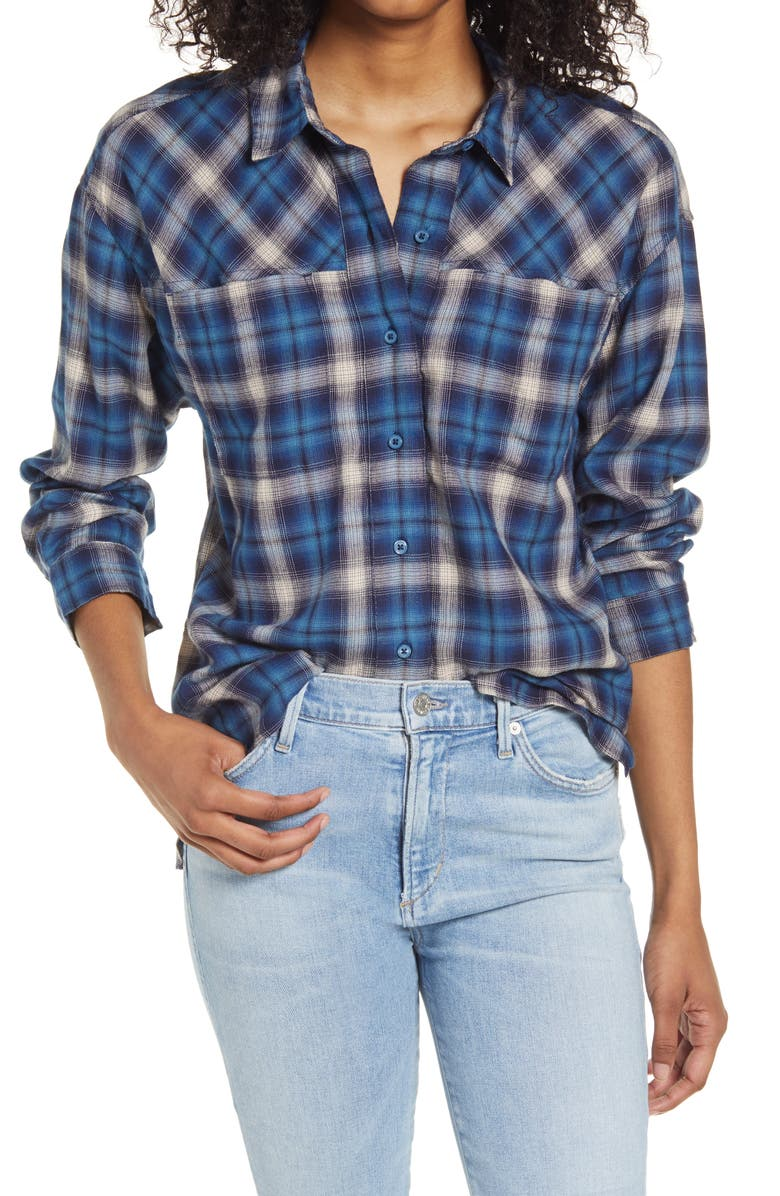 BP. High/Low Plaid Button-Up Shirt, Main, color, BLUE OMBRE PLAID