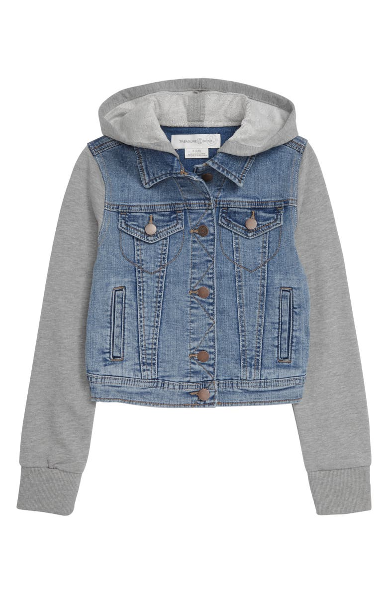 TREASURE & BOND Kids' Hooded Denim Jacket, Main, color, 420