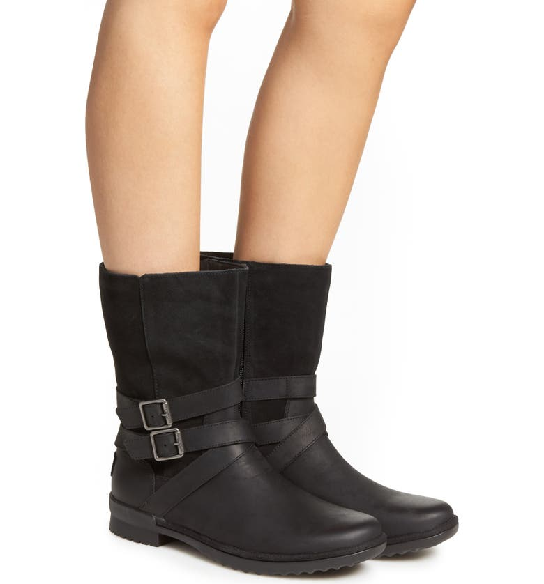 UGG<SUP>®</SUP> Lorna Waterproof Bootie, Main, color, BLACK LEATHER