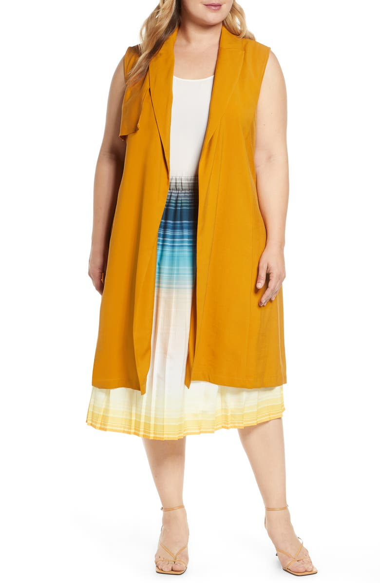ELOQUII Sleeveless Trench Coat, Main, color, BUCKTHORN BROWN
