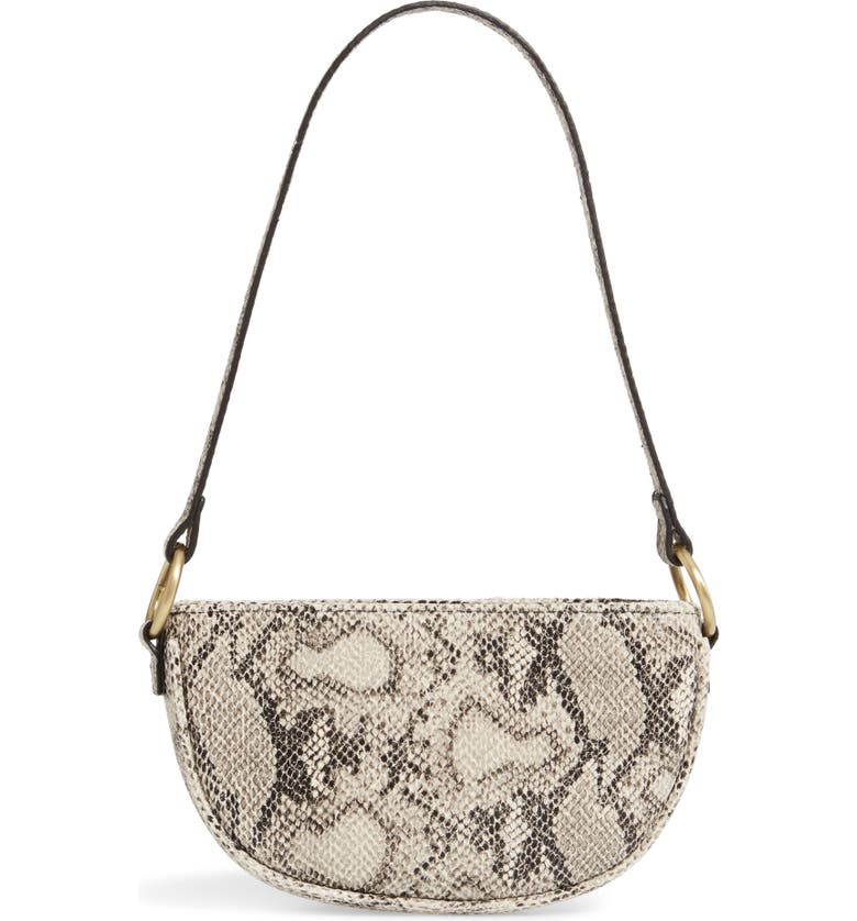 BP. Snake Embossed Half Moon Shoulder Bag, Main, color, 270
