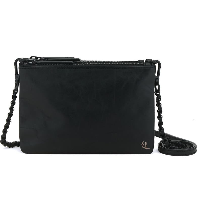 ELLIOTT LUCCA 'Sacha' Woven Leather Clutch, Main, color, BLACK SOLID