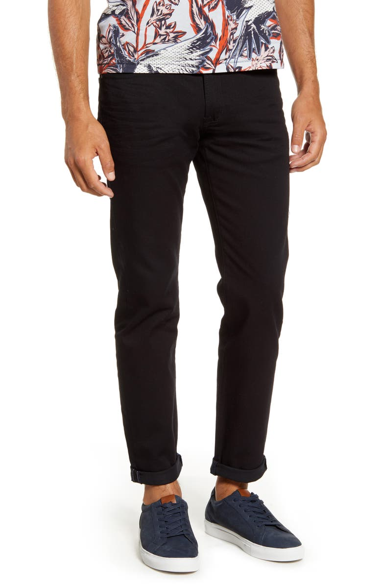 TED BAKER LONDON Straight Fit Black Jeans, Main, color, 001