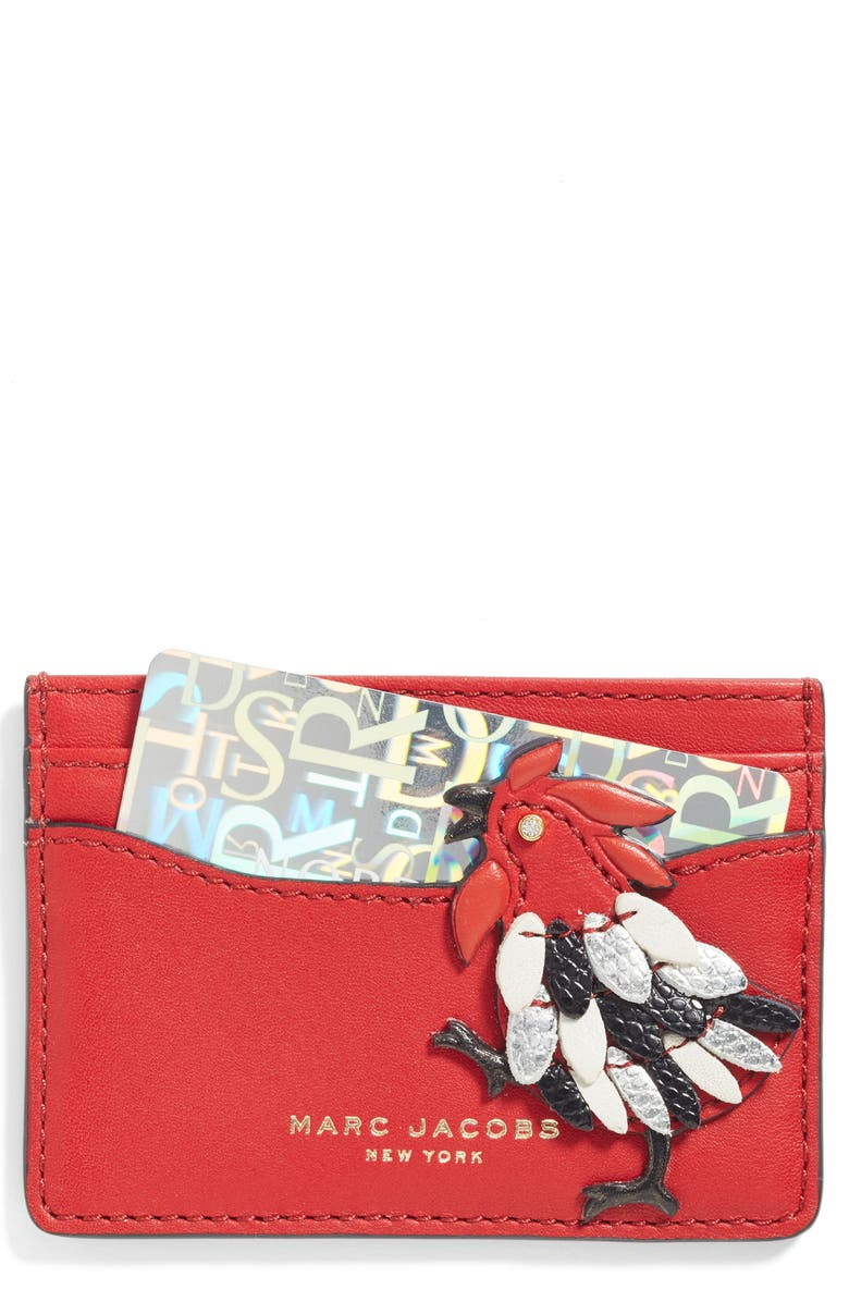 MARC JACOBS Rooster Leather Card Case, Main, color, 647