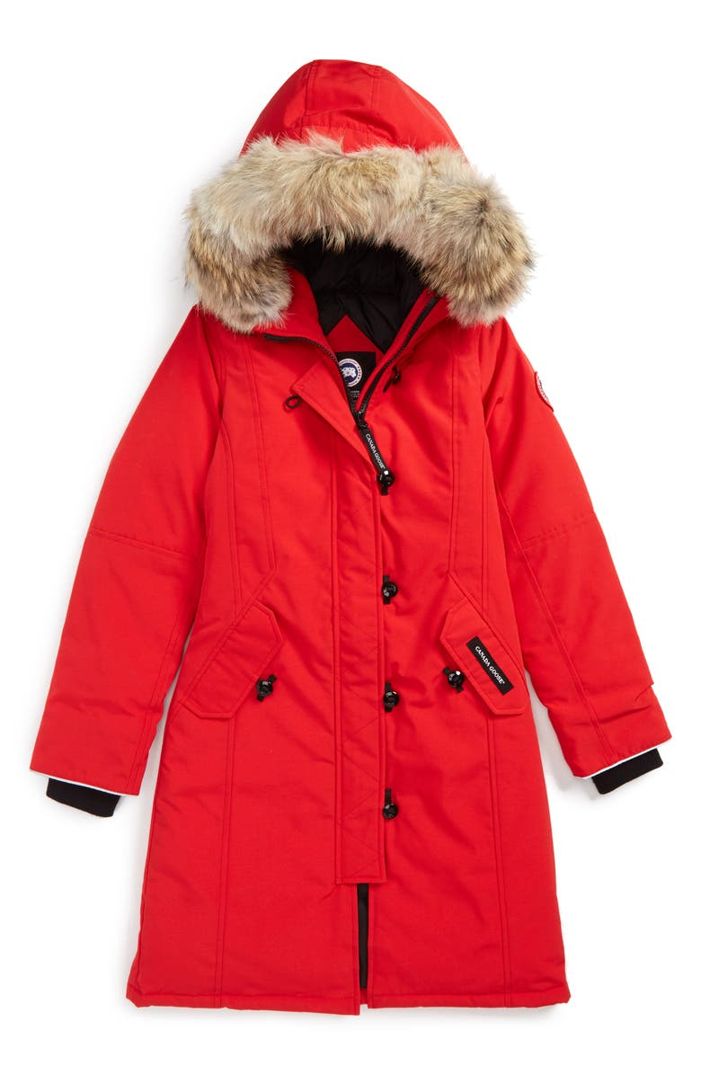 CANADA GOOSE 'Brittania' Down Parka with Genuine Coyote Fur Trim, Main, color, RED