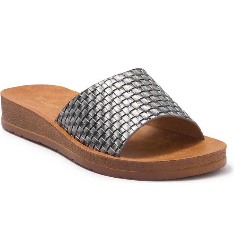 WANTED FOOTWEAR Woven Band Slide Sandal, Main, color, PEWTER
