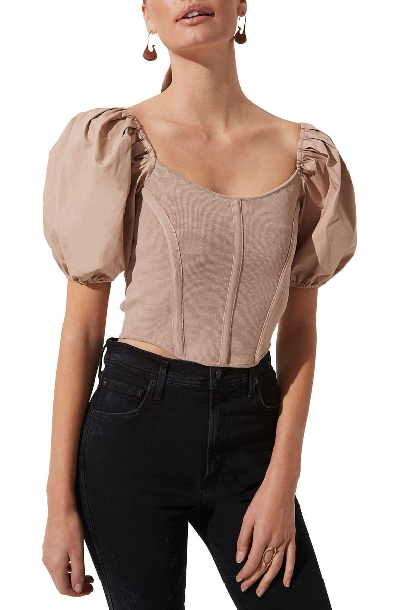 ASTR THE LABEL Puff Sleeve Corset Top, Main, color, TAUPE
