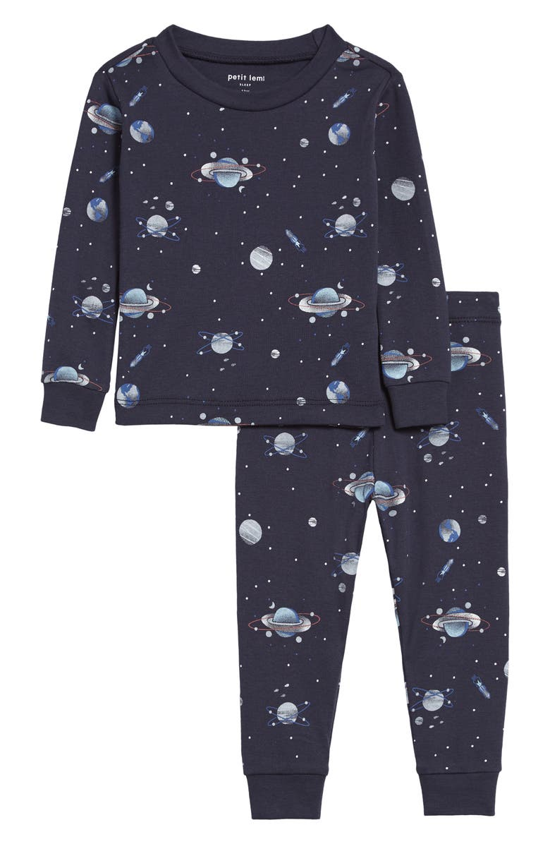 PETIT LEM Print Fitted Two-Piece Pajamas, Main, color, NAVY