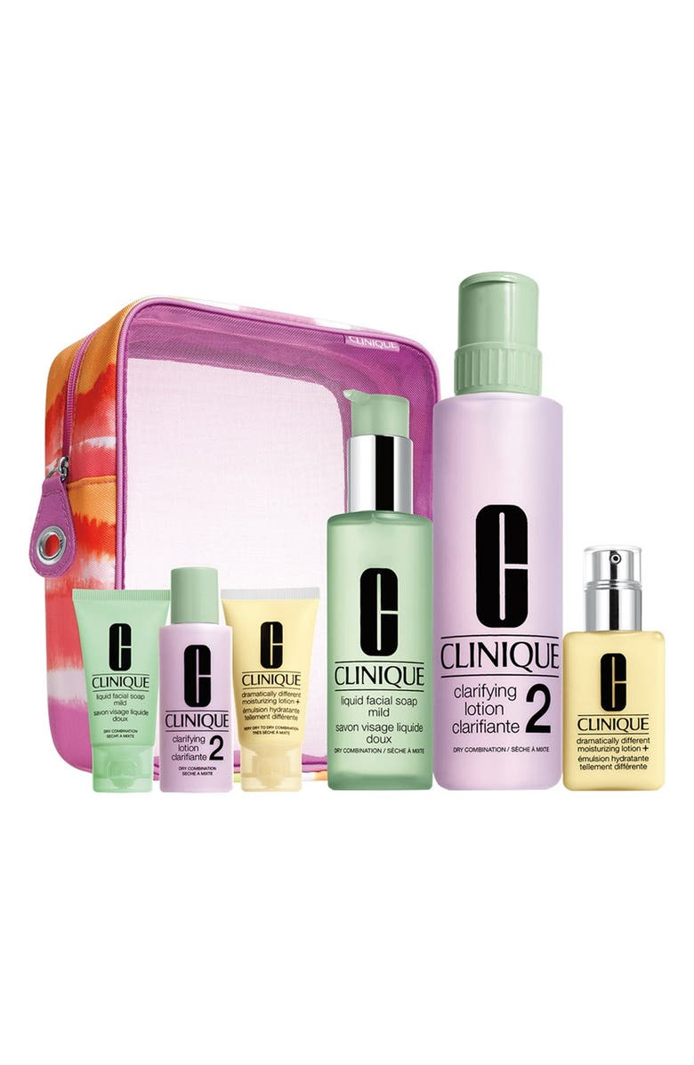 CLINIQUE 'Great Skin Home & Away' Set for Very Dry to Dry Combination Skin Types, Main, color, 1-2 DRY TO DRY COMBINATION