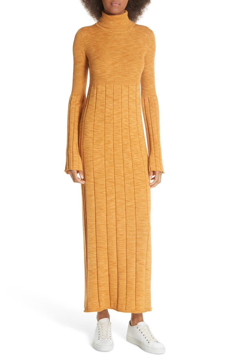 ELIZABETH AND JAMES Clementine Ribbed Space Dye Wool Dress, Main, color, MARIGOLD