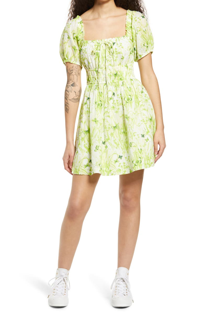 BP. Shirred Puff Sleeve Prairie Minidress, Main, color, IVORY- GREEN GRASSY BUTTERFLY