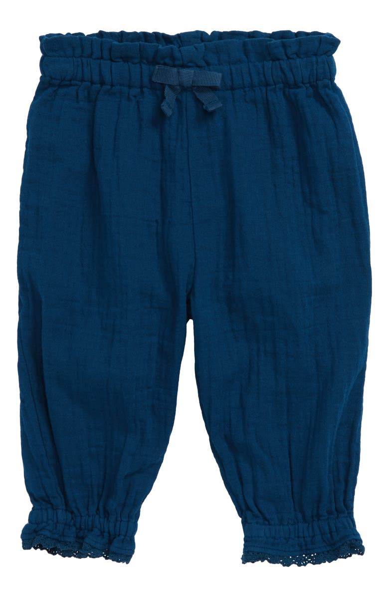 OLIVER AND RAIN Oliver & Rain Crinkle Cotton Pants, Main, color, NAVY