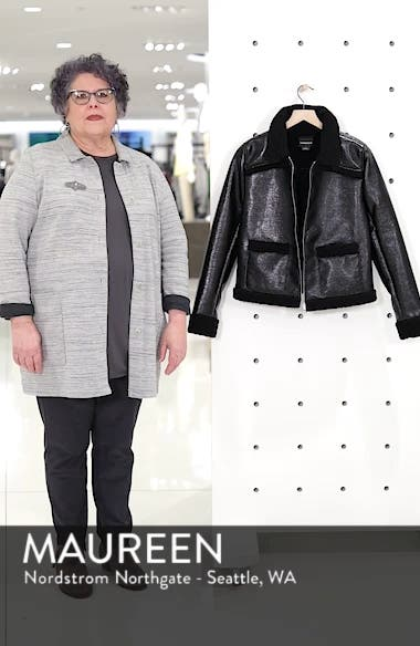 Faux Patent Leather & Shearling Jacket, sales video thumbnail
