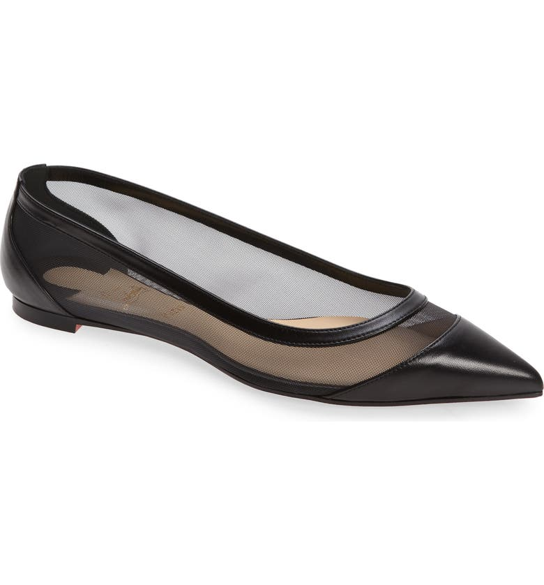 CHRISTIAN LOUBOUTIN Galativi Mesh Pointed Toe Flat, Main, color, BLACK