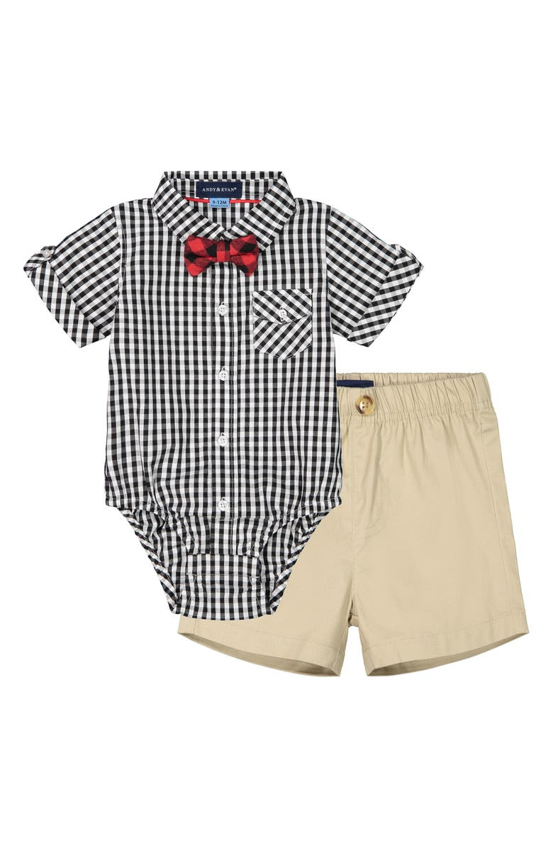 ANDY & EVAN Bodysuit, Shorts & Bow Tie Set, Main, color, 001