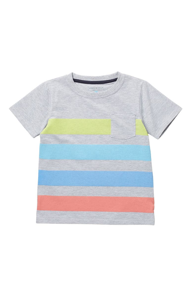 ANDY AND EVAN Striped Pocket Tee, Main, color, GYM-GREY STRIPE