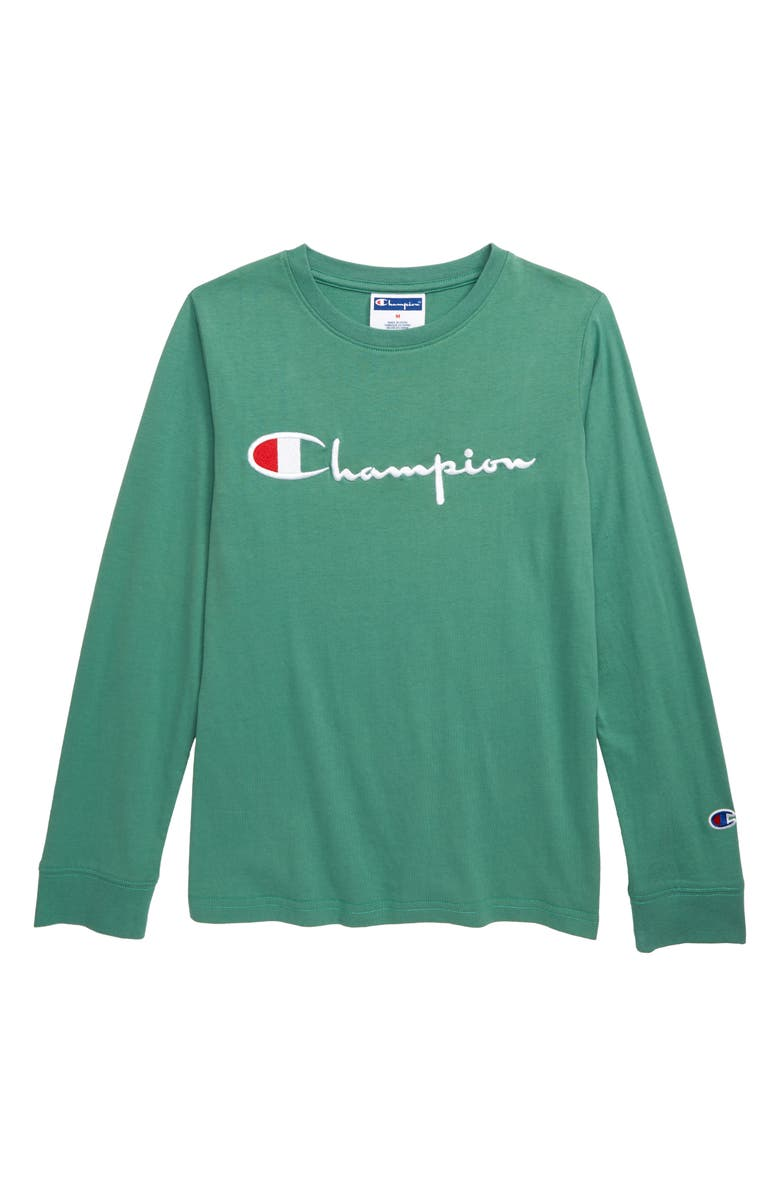 CHAMPION Heritage Signature Embroidered T-Shirt, Main, color, THERMAL GREEN