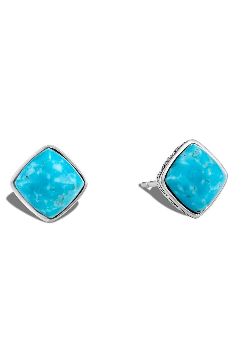 JOHN HARDY Classic Chain Sugarloaf Turquoise Stud Earrings, Main, color, SILVER/ TURQUOISE