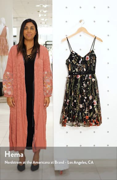 Embroidered Fit & Flare Cocktail Dress, sales video thumbnail