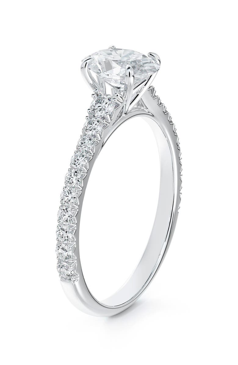 FOREVERMARK Icon<sup>™</sup> Setting Oval Diamond Engagement Ring with Diamond Band, Main, color, PLATINUM-D1.00CT