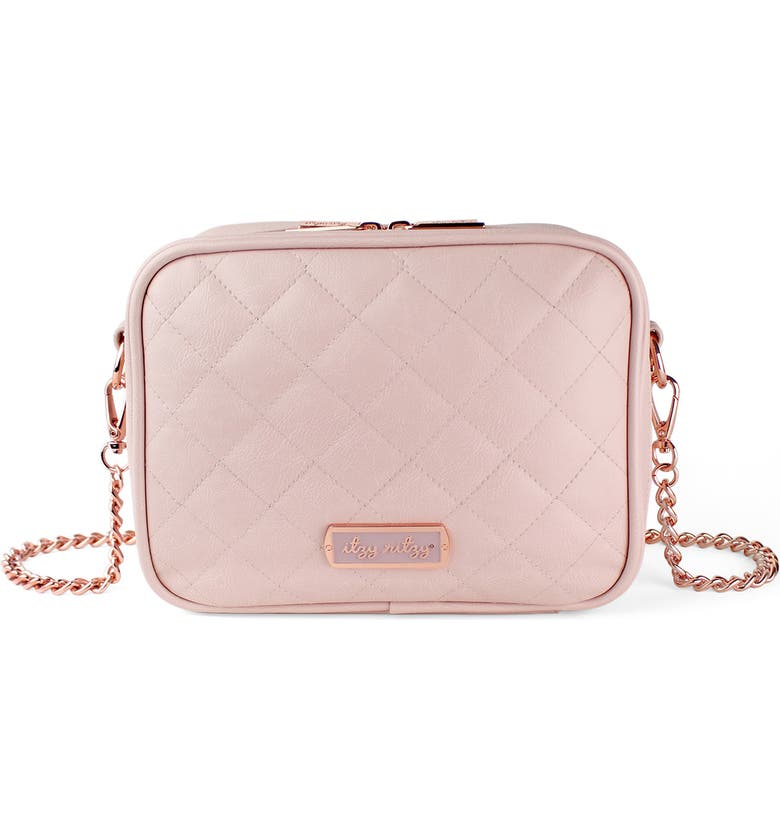 ITZY RITZY Double Take Faux Leather Crossbody Diaper Bag, Main, color, BLUSH