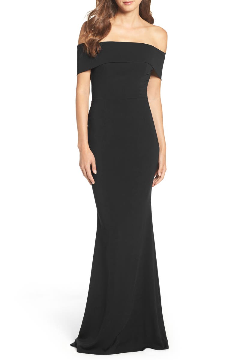 KATIE MAY Off the Shoulder Crepe Gown, Main, color, Black