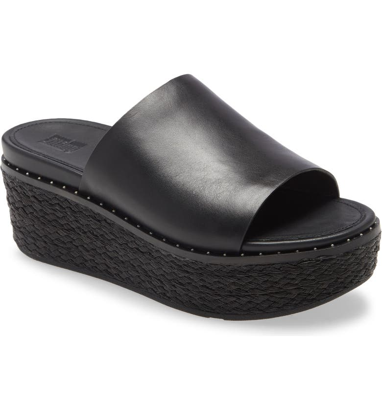 FITFLOP Eloise Platform Espadrille Slide, Main, color, BLACK LEATHER