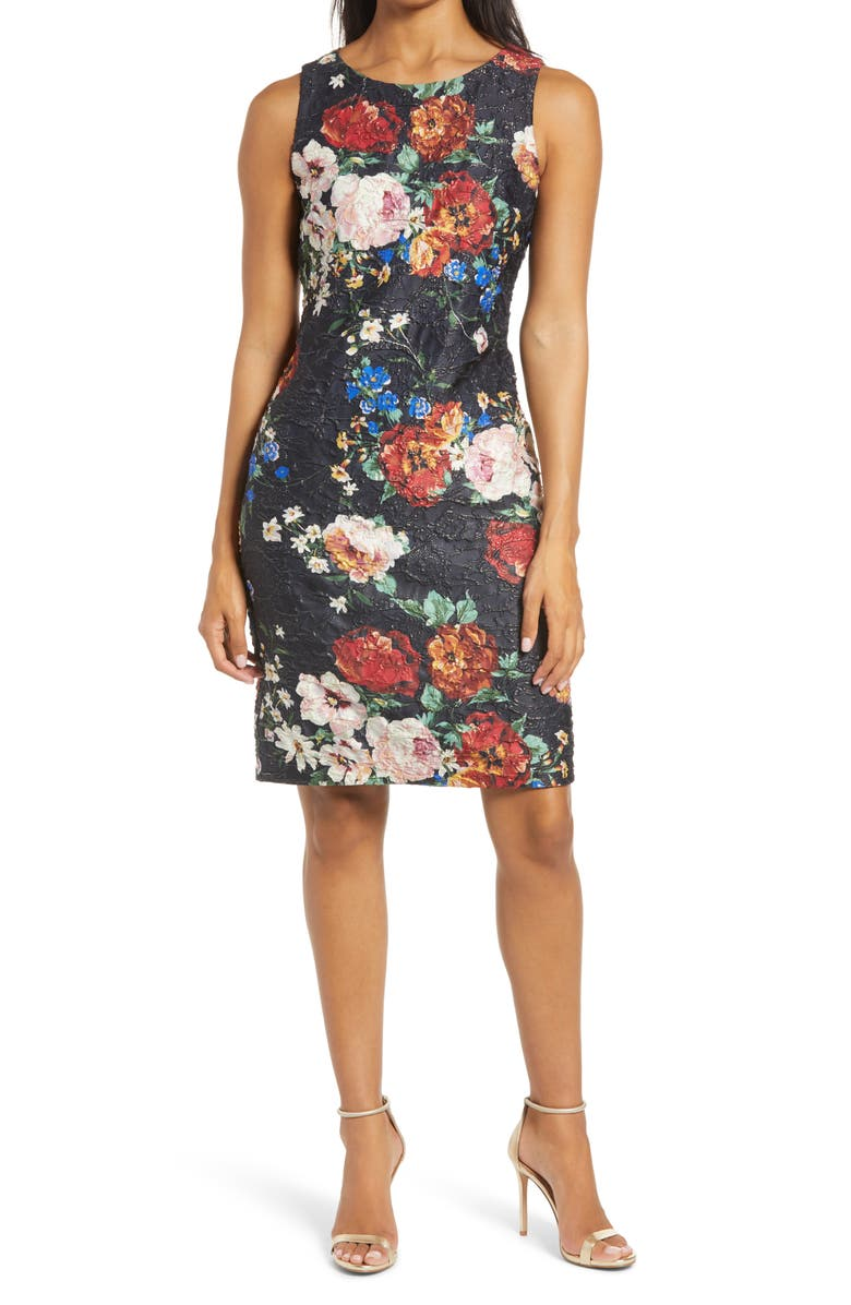 DONNA RICCO Floral Scuba Sheath Dress, Main, color, 001