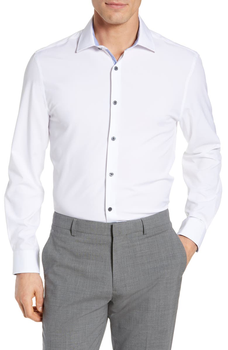 W.R.K Trim Fit Solid Performance Stretch Dress Shirt, Main, color, WHITE