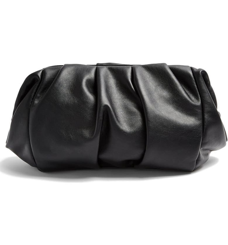 TOPSHOP Frame Ruched Clutch, Main, color, 001