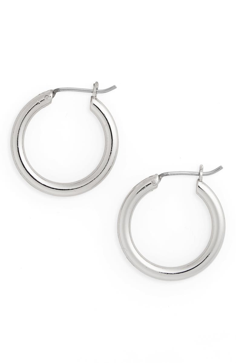 HALOGEN<SUP>®</SUP> Small Endless Hoop Earrings, Main, color, RHODIUM
