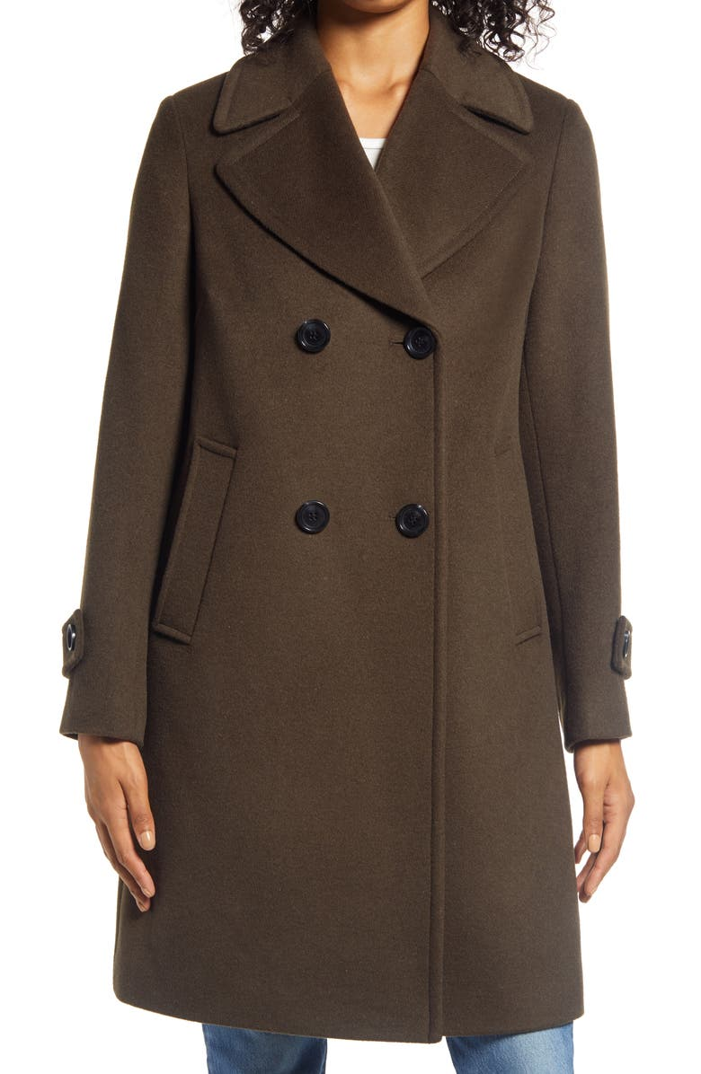 SAM EDELMAN Double Breasted Wool Blend Twill Coat, Main, color, LODEN