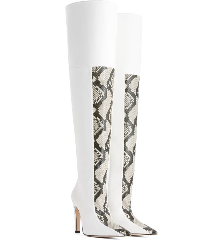 GOOD AMERICAN The Koko Snake Embossed Over The Knee Boot, Main, color, 120