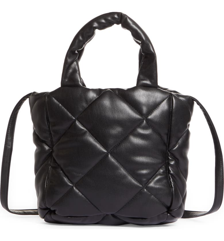 STAND STUDIO Small Rosanne Quilted Faux Leather Top Handle Bag, Main, color, Black