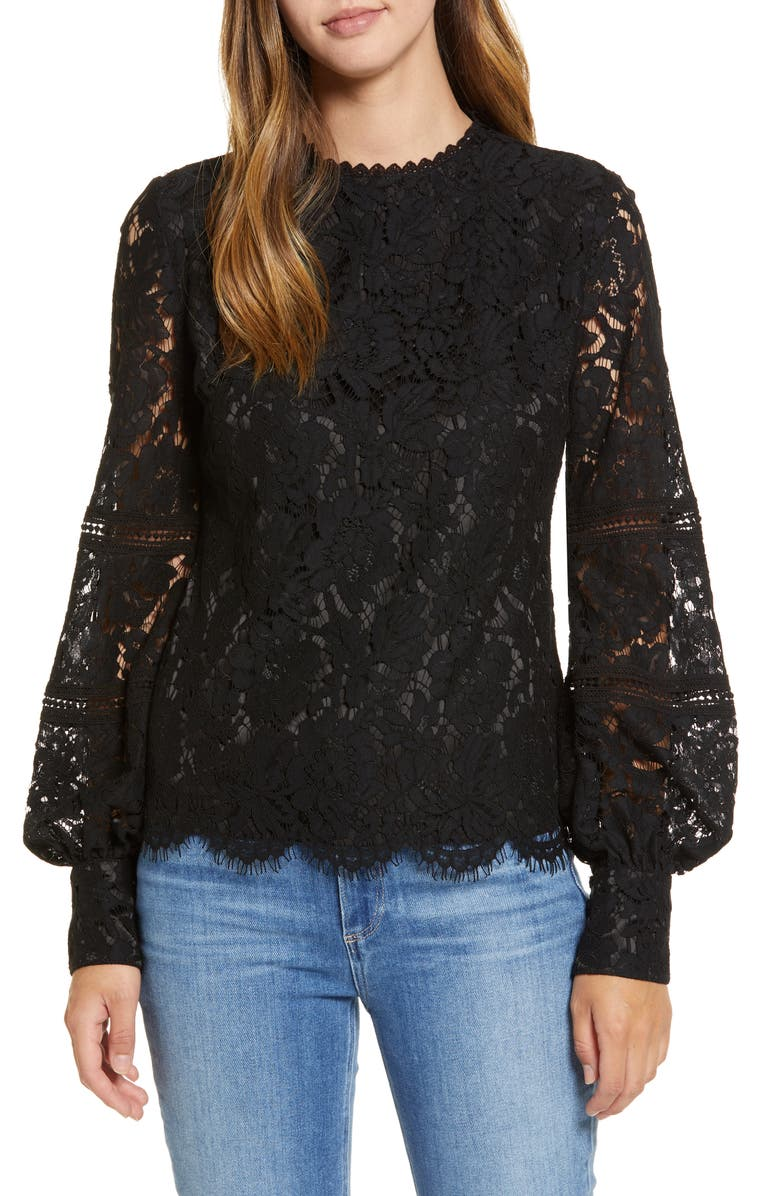 RACHEL PARCELL Bishop Sleeve Scalloped Lace Top, Main, color, 001