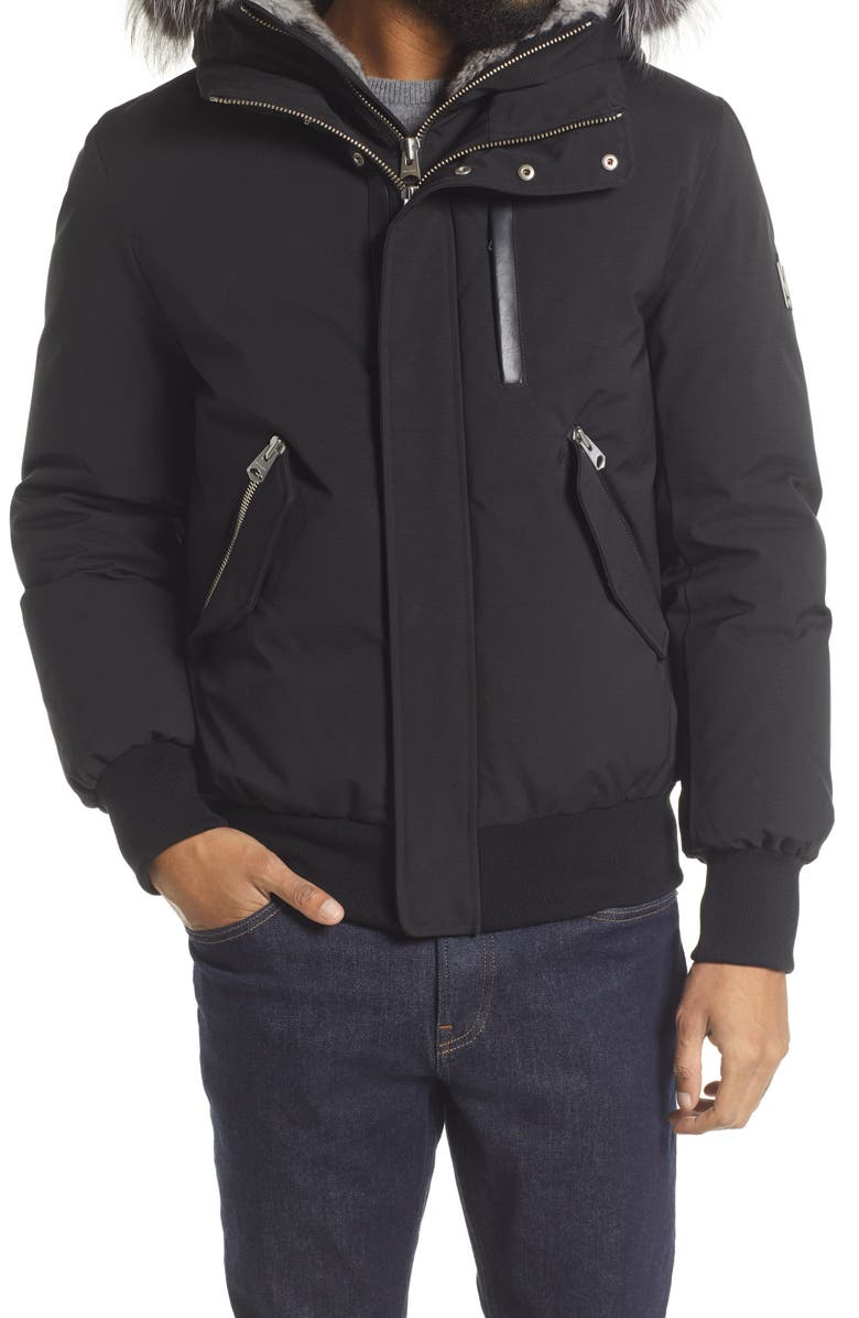 MACKAGE Lux Down Bomber Jacket with Genuine Fox Fur Trim, Main, color, BLACK-SILVER
