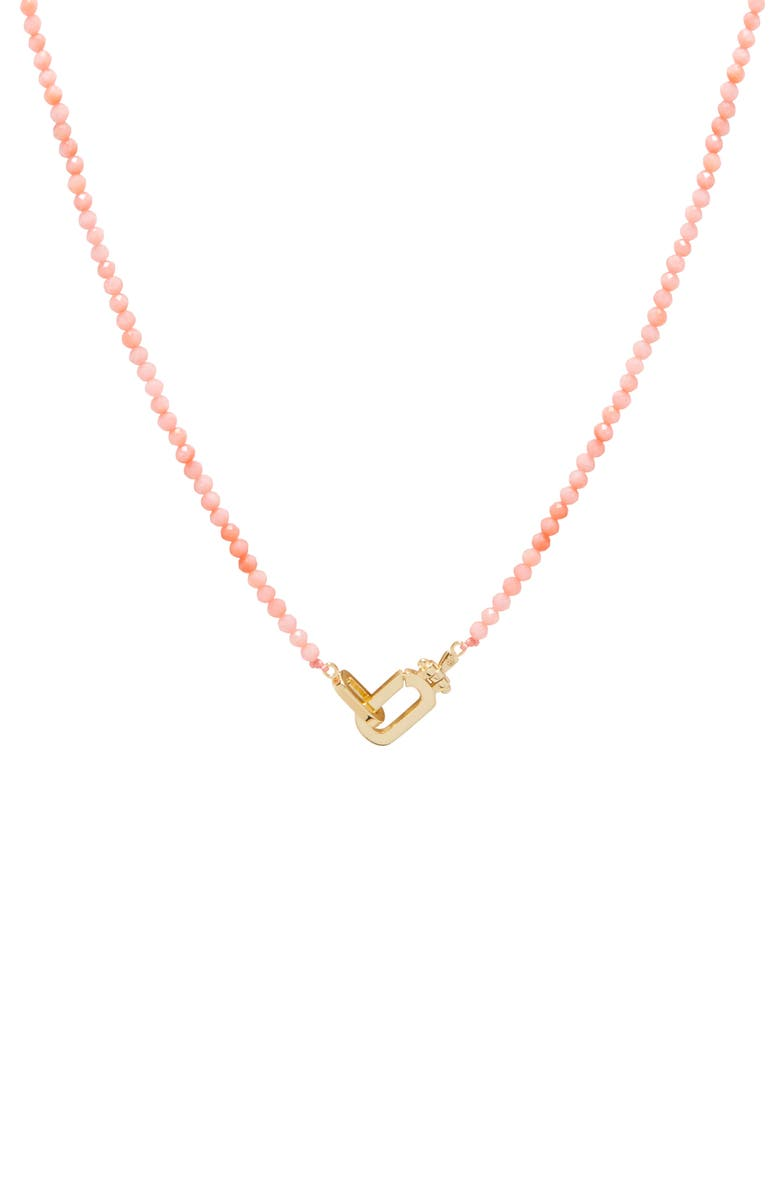 GORJANA Dylan Beaded Necklace, Main, color, CORALITE
