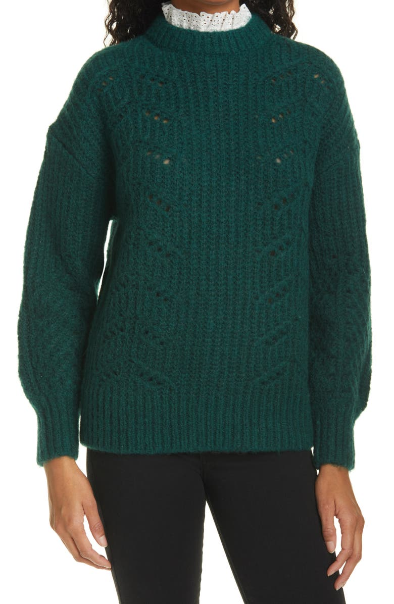 TED BAKER LONDON Molliey Lace Detail Mock Neck Sweater, Main, color, Dark Green