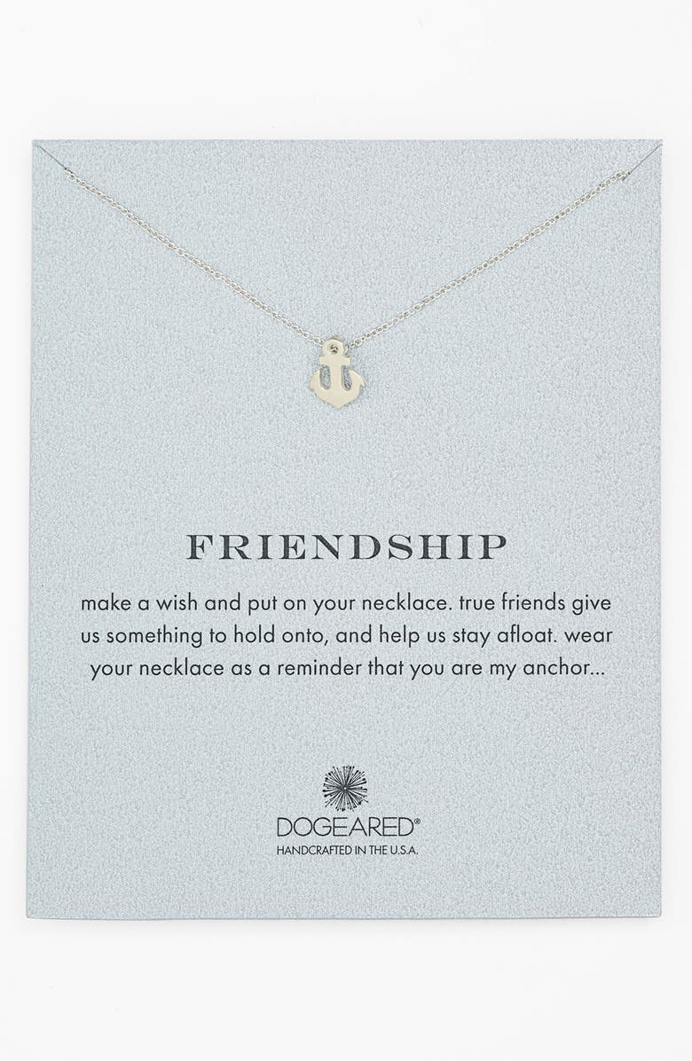 DOGEARED 'Reminder - Friendship' Anchor Pendant Necklace, Main, color, 040