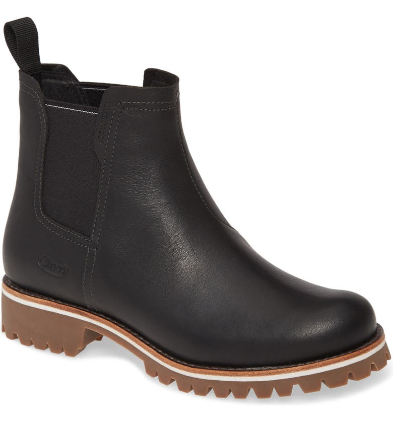 CHACO Fields Waterproof Chelsea Boot, Main, color, BLACK LEATHER