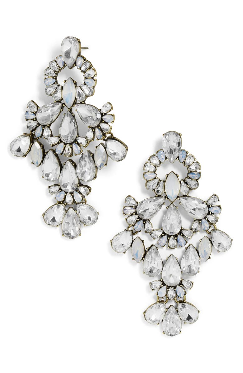 BAUBLEBAR Symphony Crystal Statement Earrings, Main, color, ANTIQUE SILVER