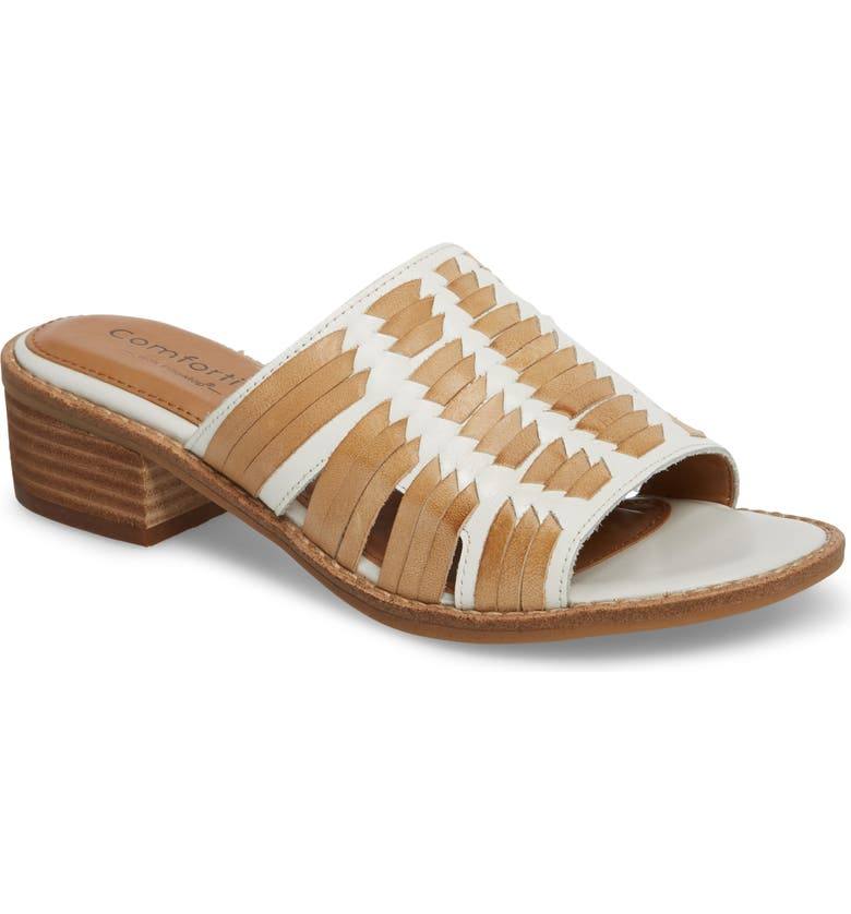 COMFORTIVA Brileigh Slide Sandal, Main, color, WHITE LEATHER
