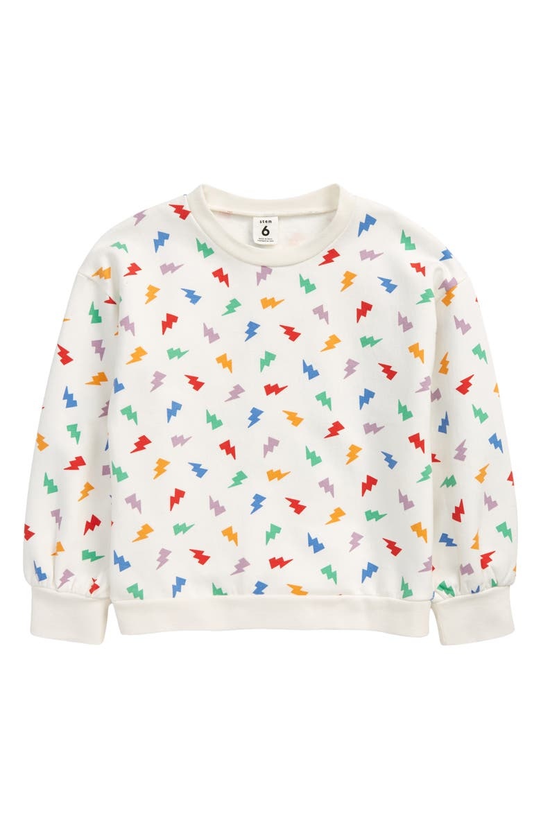STEM So Much Love Graphic Sweatshirt, Main, color, IVORY EGRET MULTI BOLT